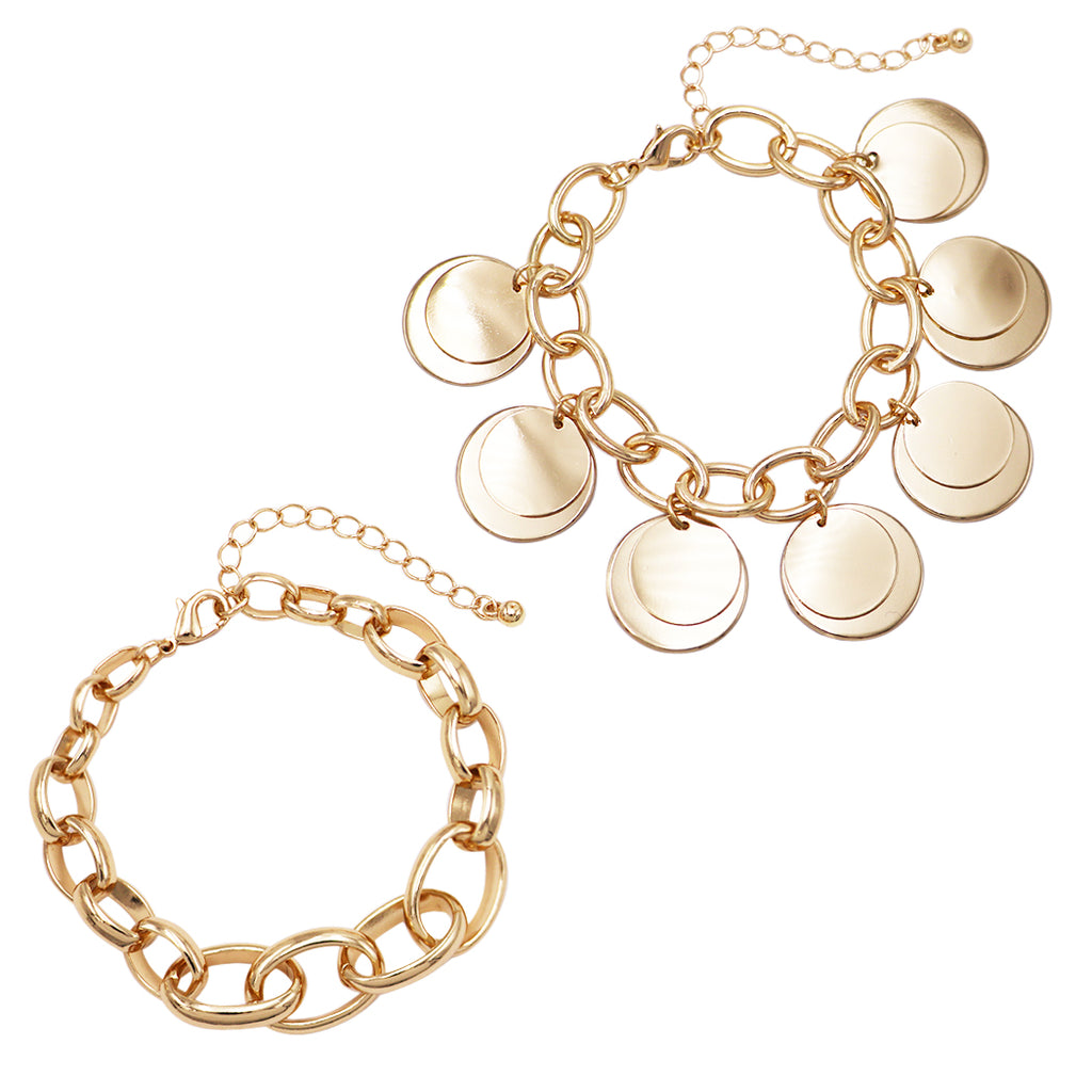Set of 2 Polished Gold Tone Link Multi strand Bracelets with Coin Discs Charms