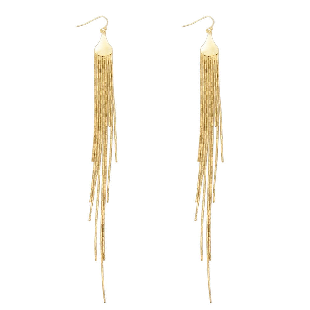 Gold Color Shoulder Duster Long Tassel Earrings