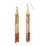 Topaz Ombre Crystal Seed Bead Tassel Drop Earrings