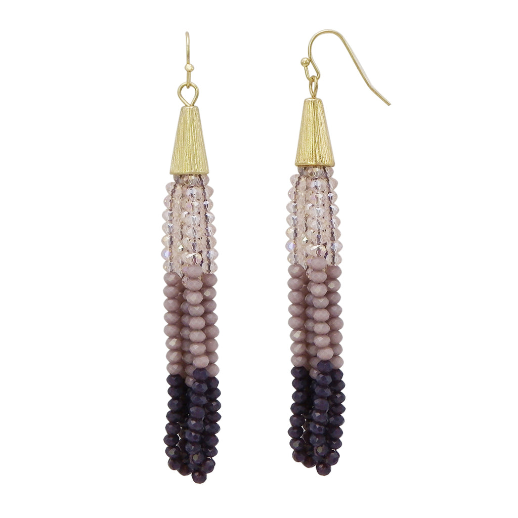 Purple Ombre Crystal Seed Bead Tassel Drop Earrings