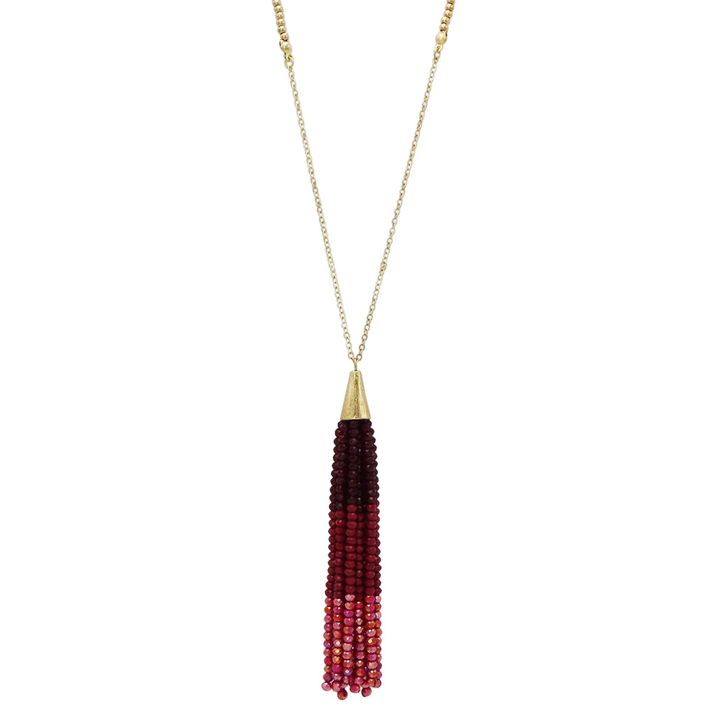 Red Ombre Beaded Tassel Long Necklace