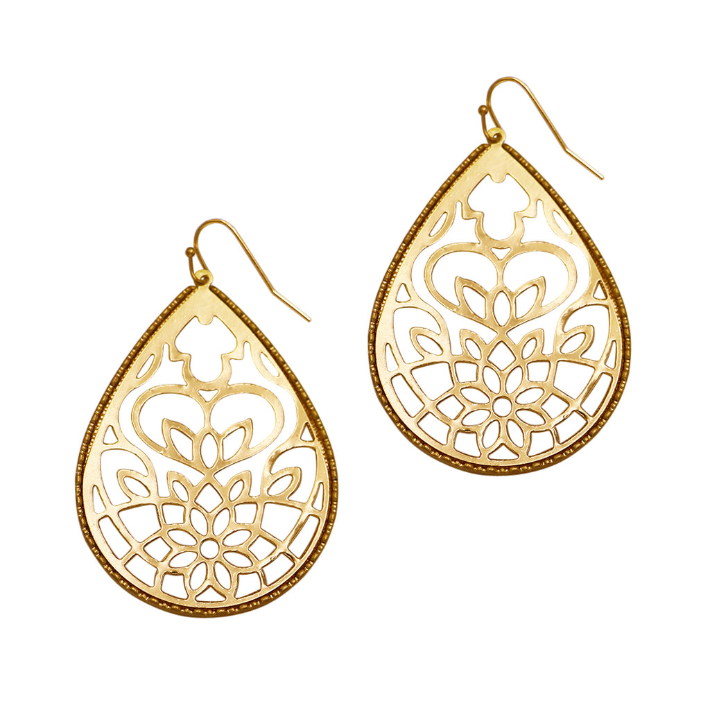 18d131c2e8cf31 Large Filigree Style Metal Cutout Teardrop Dangle Earrings (Gold Tone) –  Rosemarie Collections