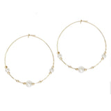 Faux Pearl Wire Bead Hoop Dangle Earrings (Gold Color)