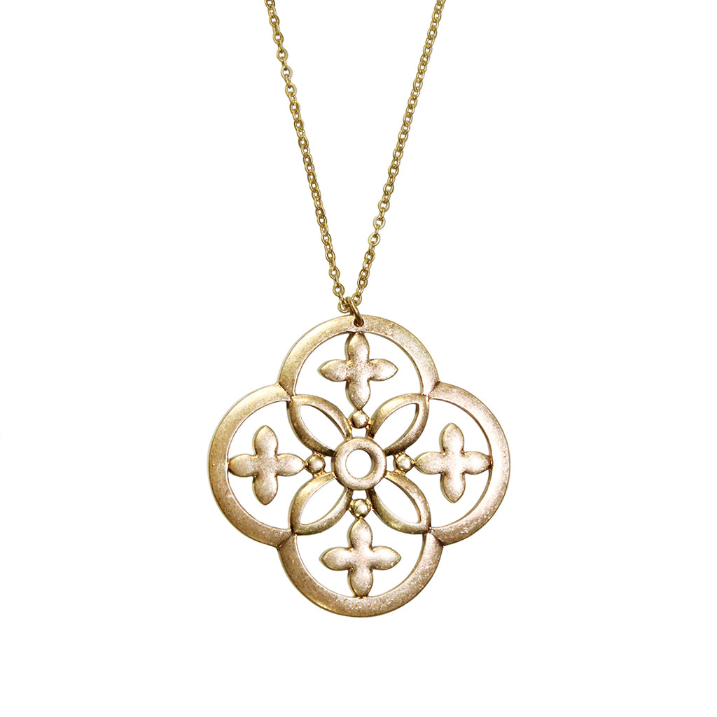Rosemarie Collections Gold Tone Extra Long Geometric Cross Medallion Pendant Necklace 34 inches