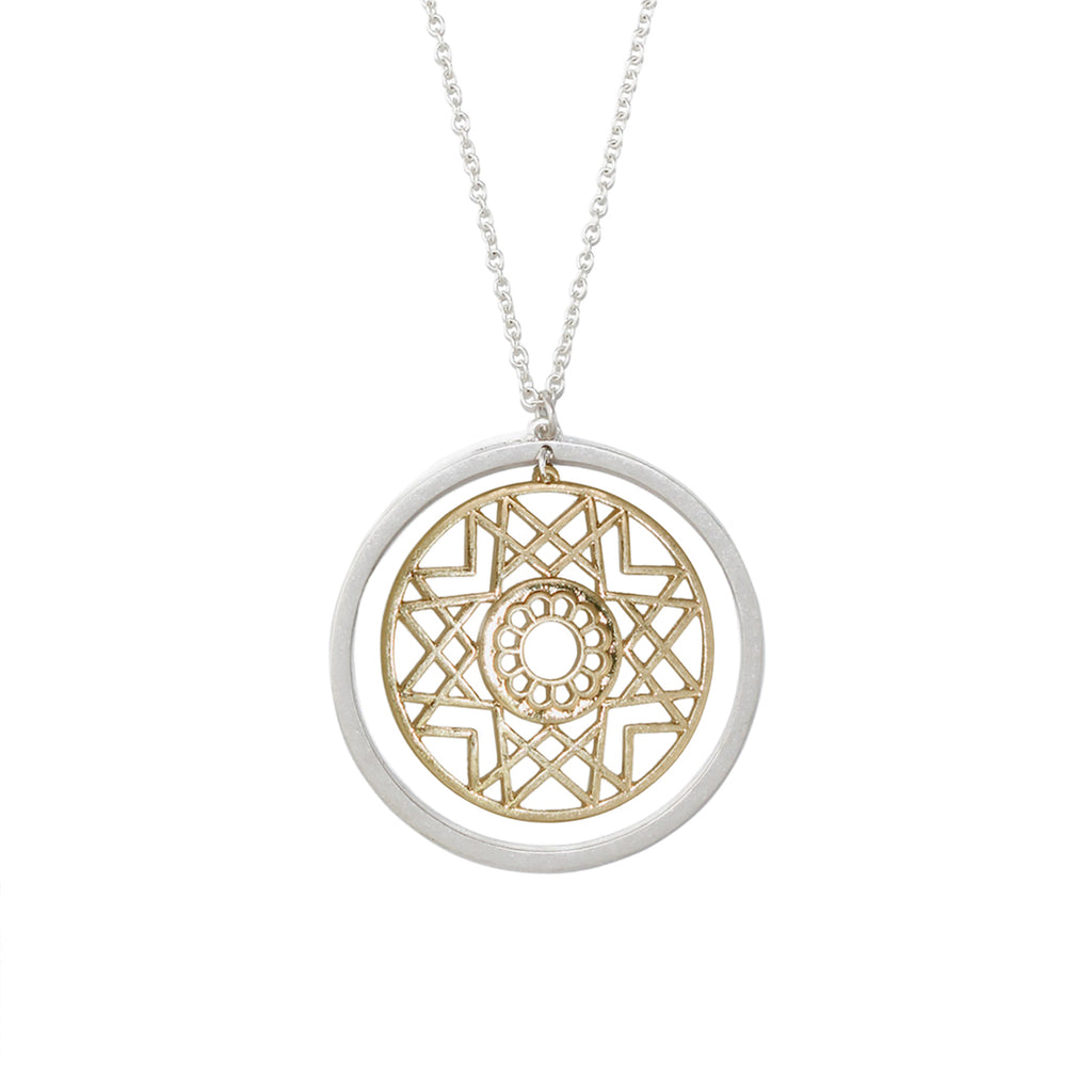Rosemarie Collections Two Tone Geometric Star Medallion Pendant Necklace (Silver)