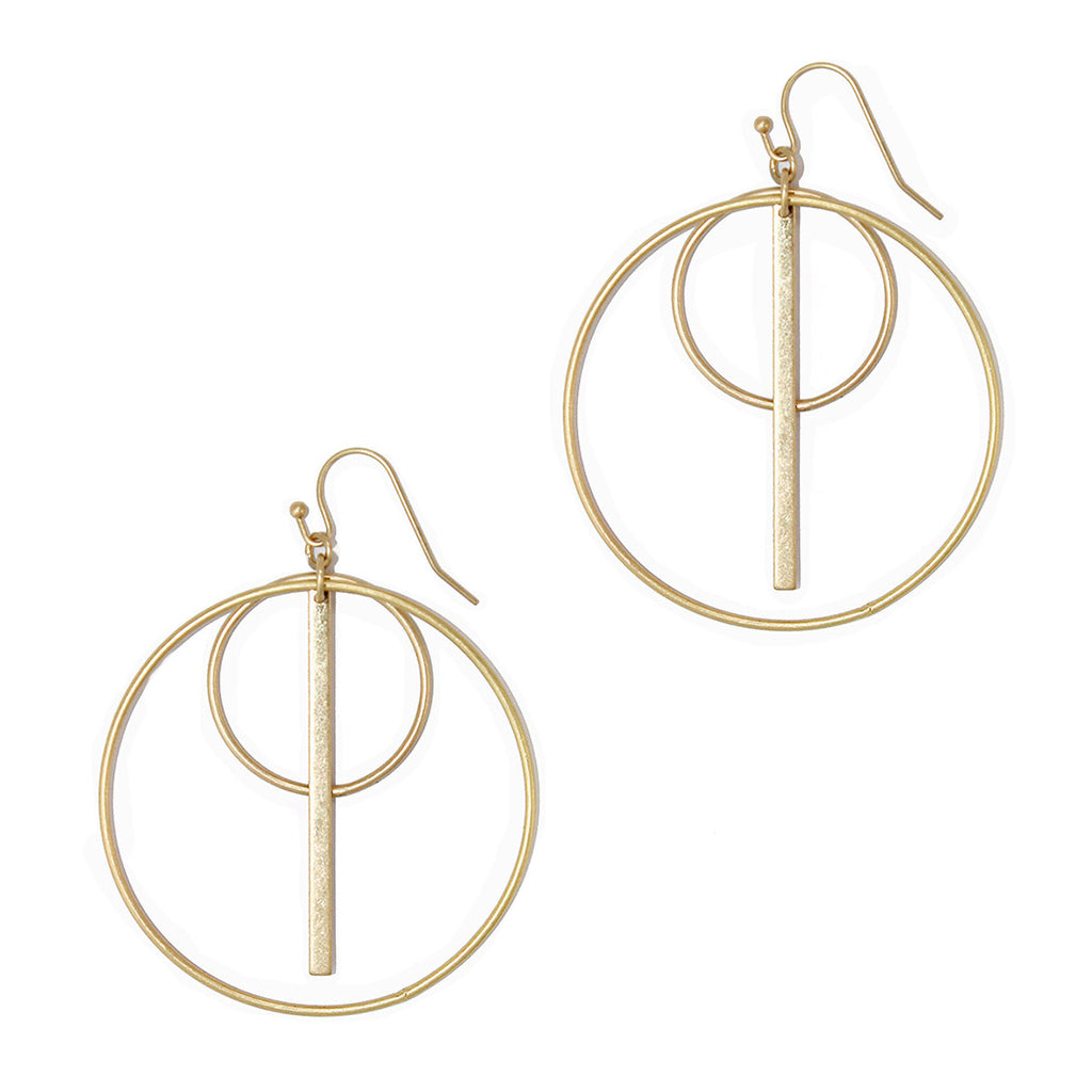 Fashion Geo Circle and Bar Hoop Dangle Earrings (Matte Gold)