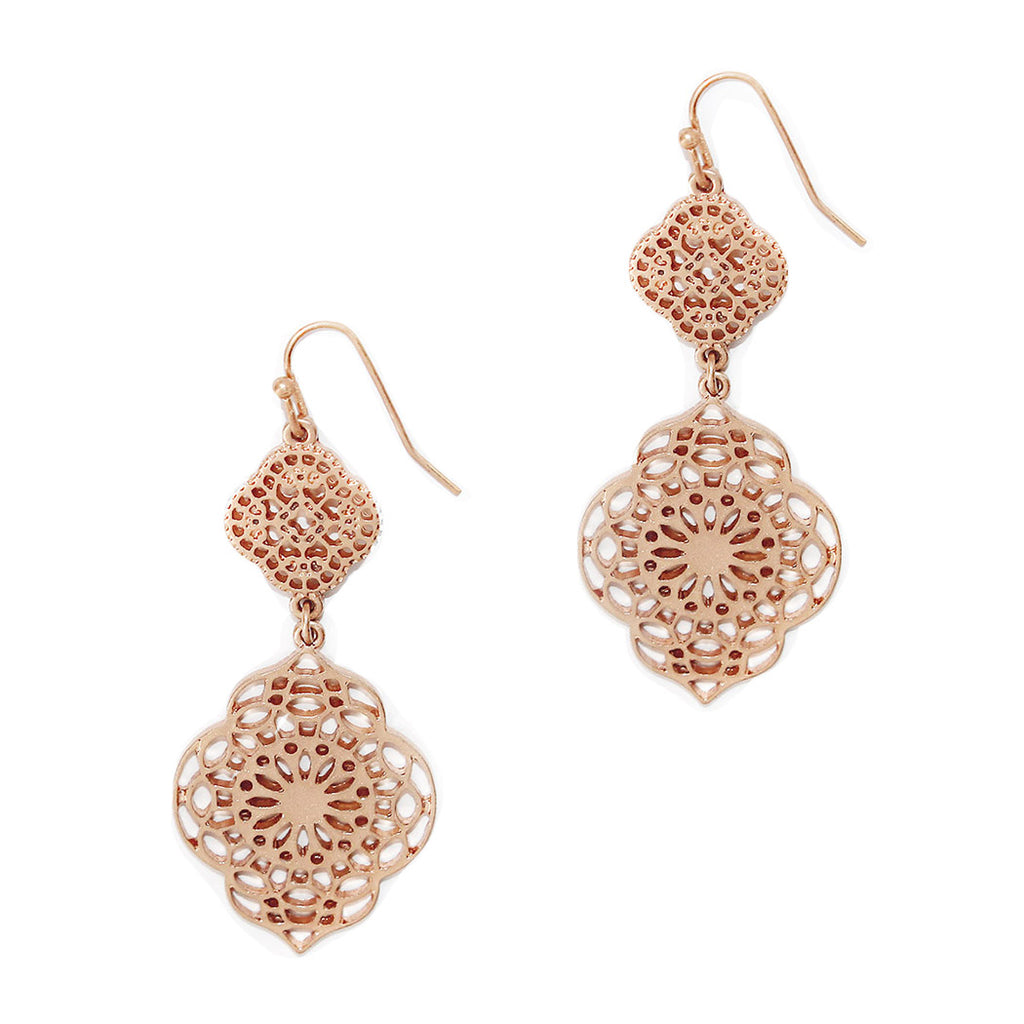 Double Drop Moroccan Filigree Fashion Earrings (Rose Gold Color)