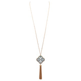 Long Pendant Necklace Quatrefoil Clover Patina Tassel