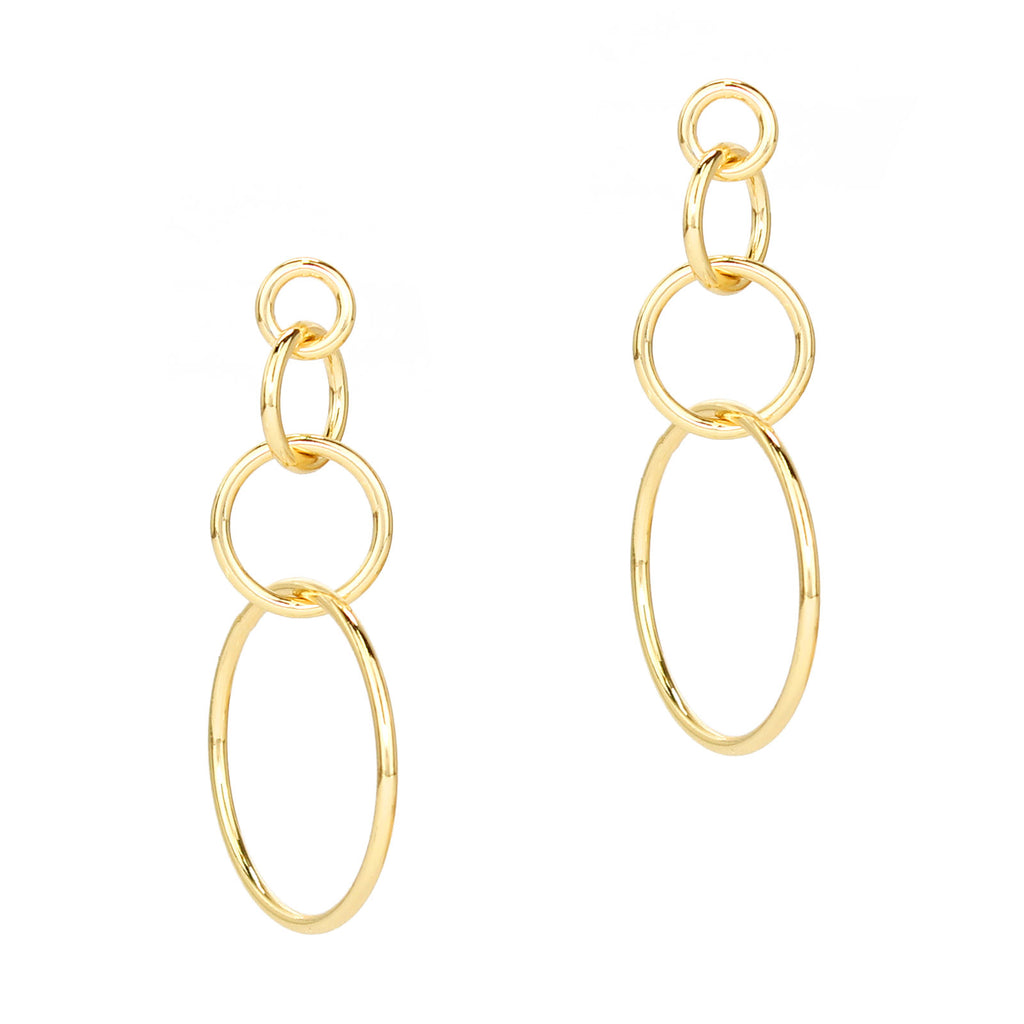 Geo Multi Hoop Drop Earrings (Gold Tone)