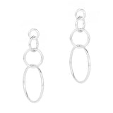 Geo Multi Hoop Drop Earrings (Silver Tone)