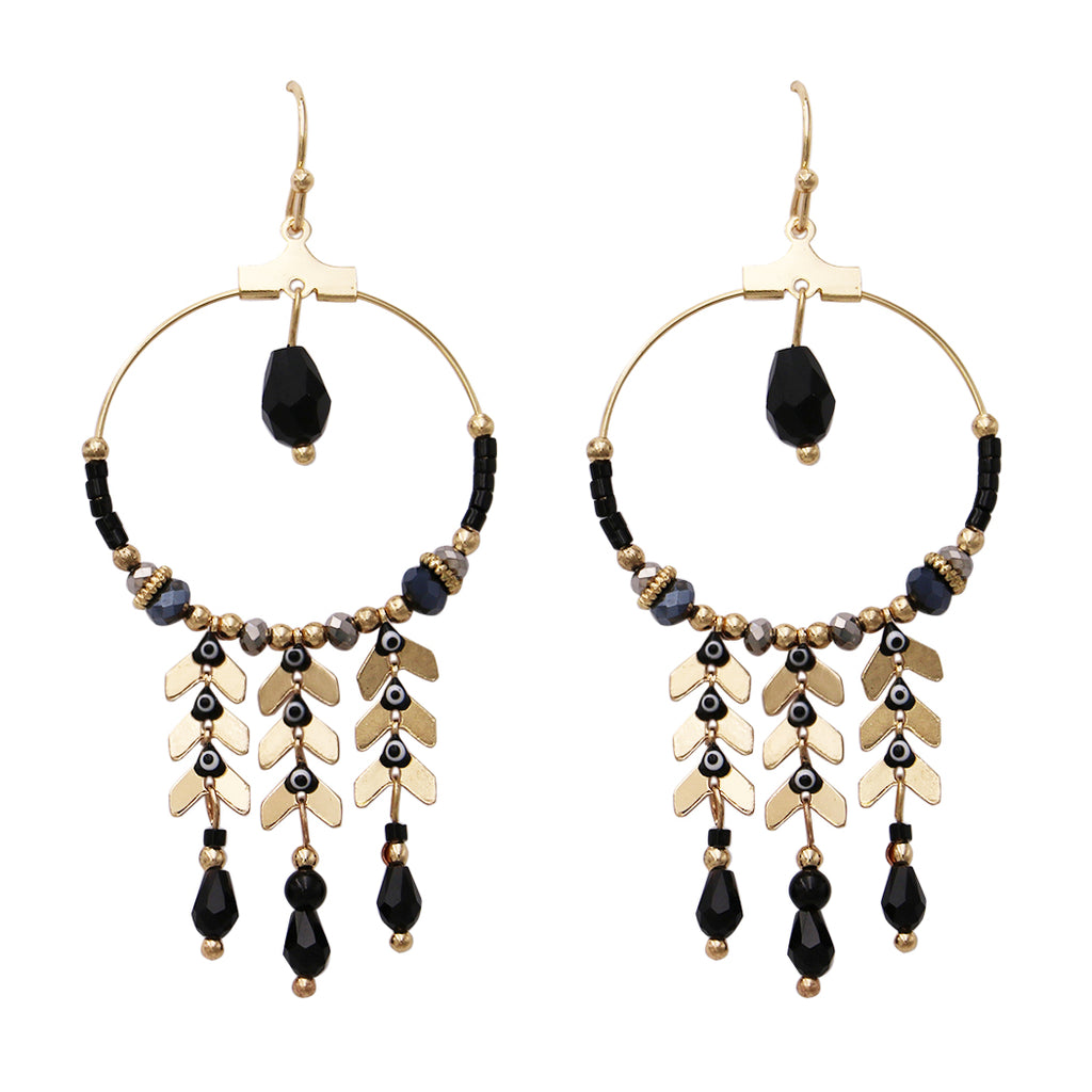 Gold and Black Chandelier Dangle Earrings (Gold Tone)