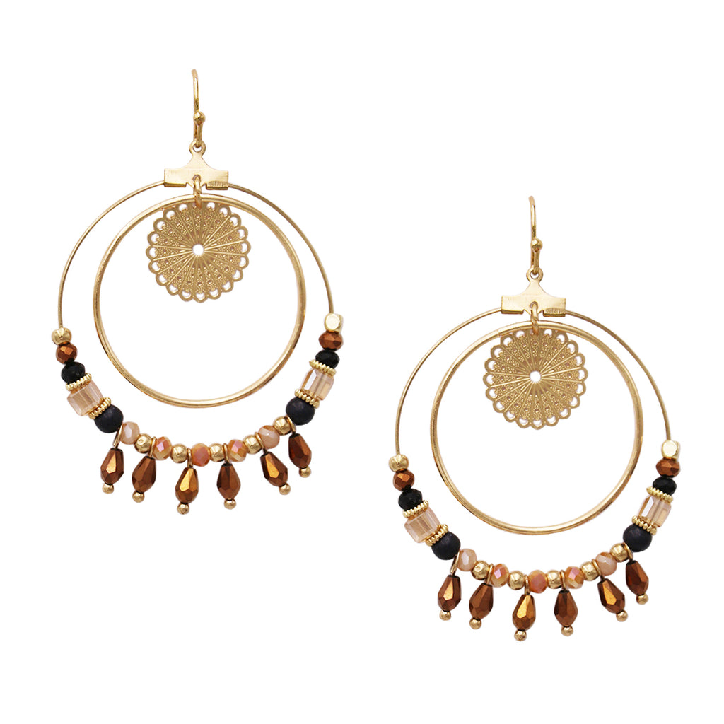 Gold Copper and Black Wire Glass Bead Double Hoop Dangle Earrings