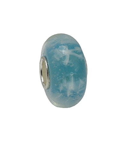 Turquoise Blue with White Snowflakes Murano Glass Style Bead
