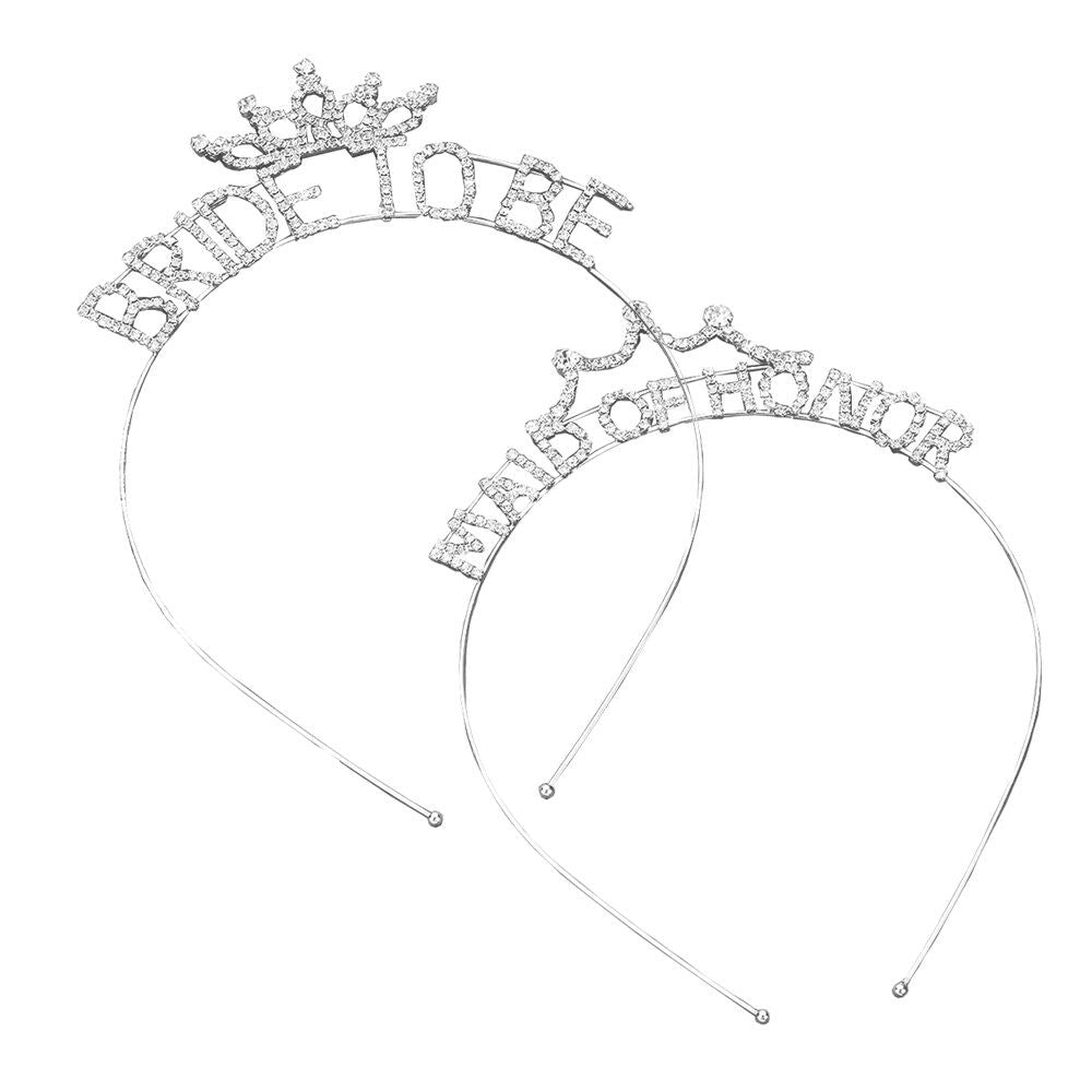Bachelorette Party Bride and Maid of Honor Tiara Headband Set of 2