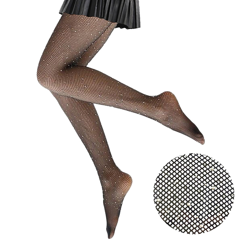 Crystal Embellished Fishnet Pantyhose Tights (Black, One Size)