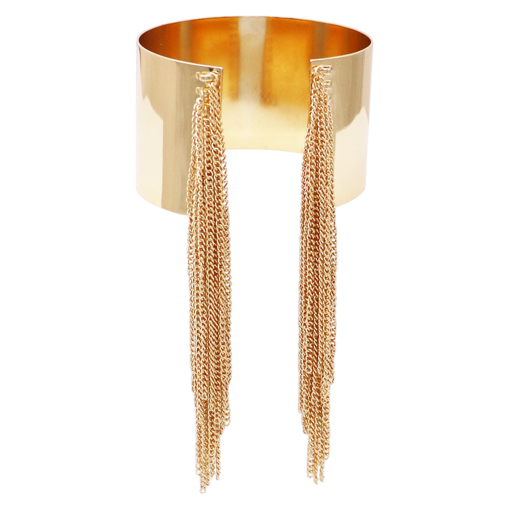 Gold Tone Upper Arm Wide Band with Fringe Chain Bridal Arm Cuff