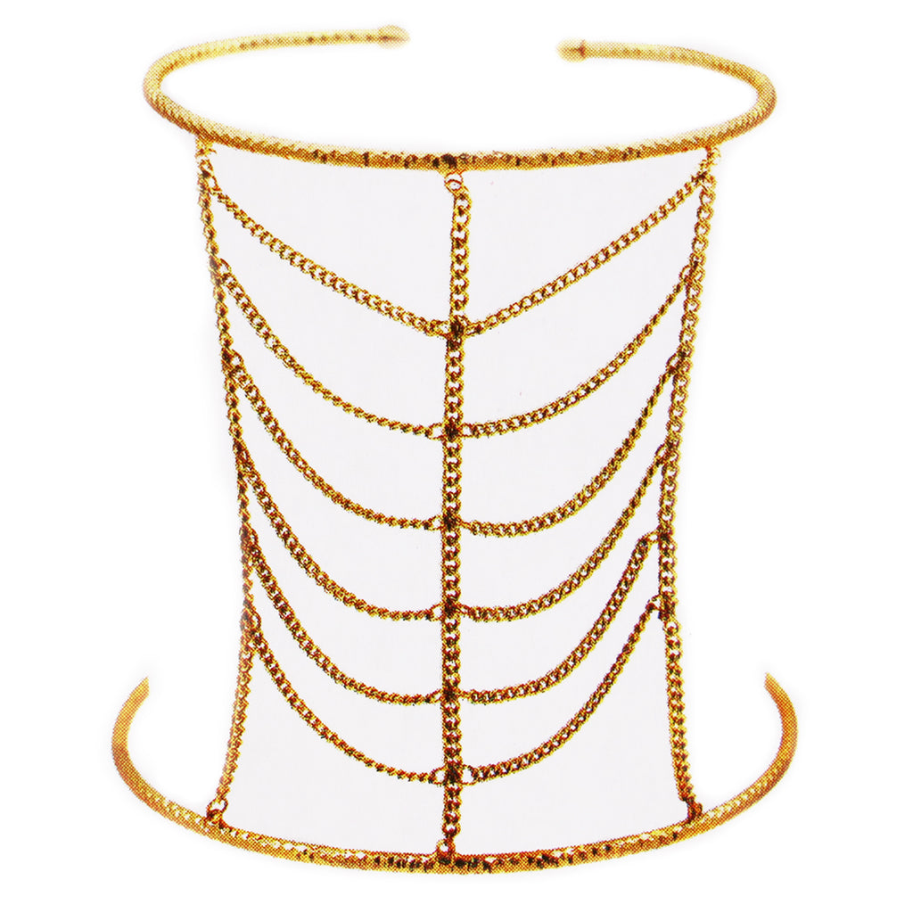 Gold Tone Upper Arm Band Square Pattern Chain Bridal Double Coil Arm Cuff