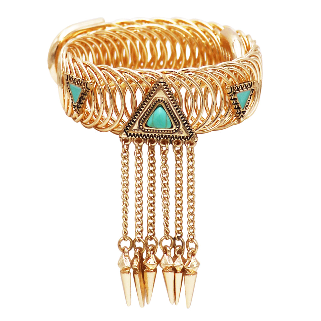 Women's Upper Arm Gold Tone Band with Turquoise Stone and Fringe Chain Arm Coil Cuff