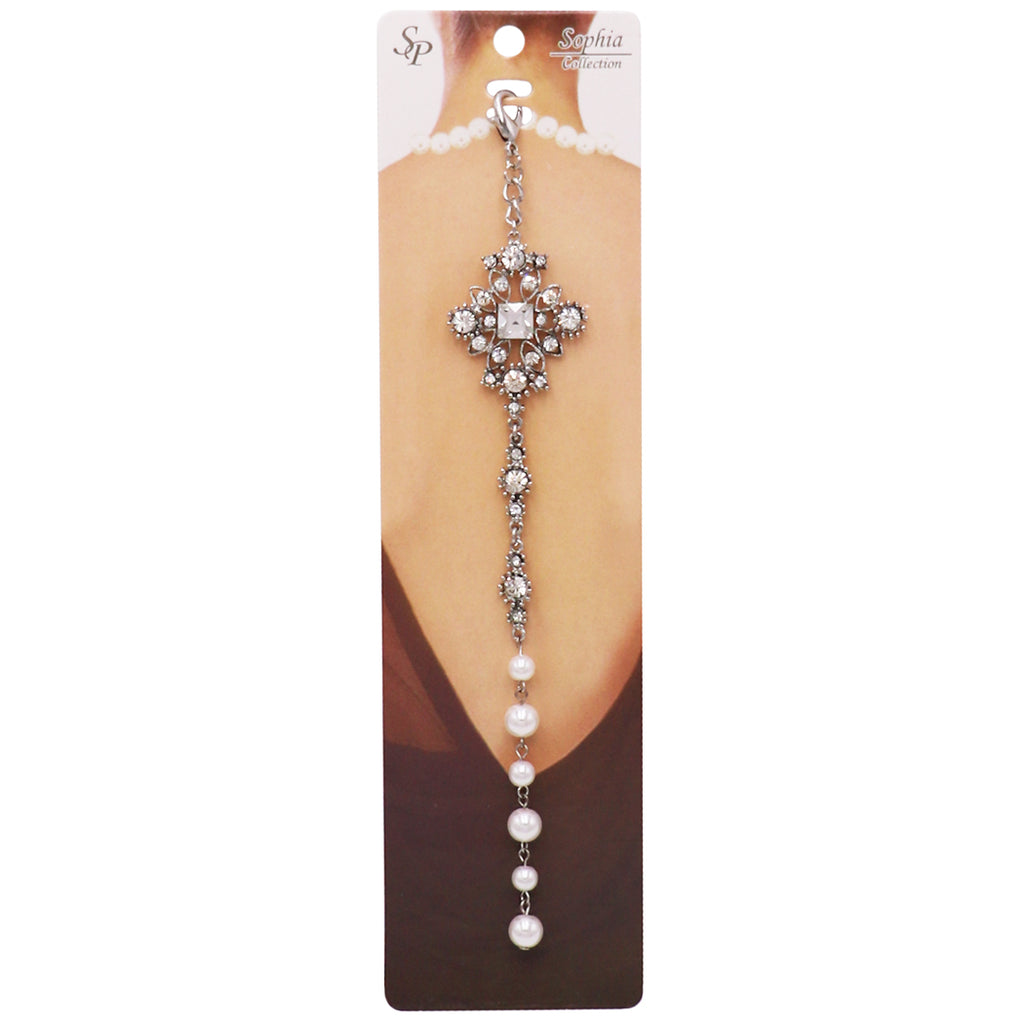 Elegant Crystal and Simulated Pearl Backdrop Style Bridal Necklace Pendant Clip On Charm