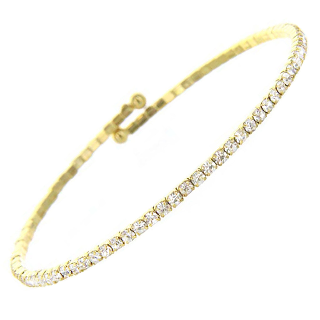 Comfort Flex Crystal Rhinestone Coil Bangle Bracelet (Gold Tone)