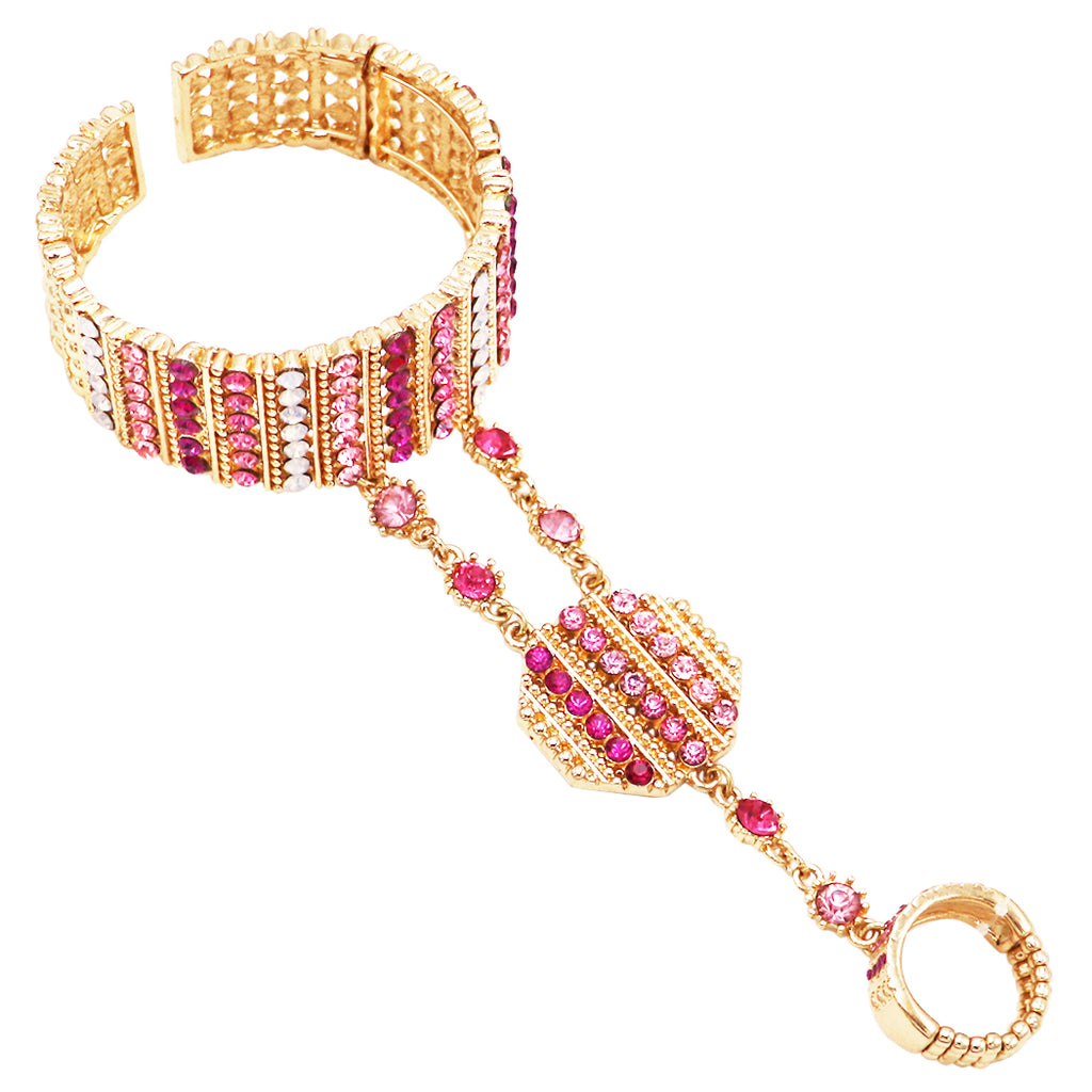 Gold Tone and Pink Crystal Rhinestone Statement Hand Chain Cuff Bracelet and Ring