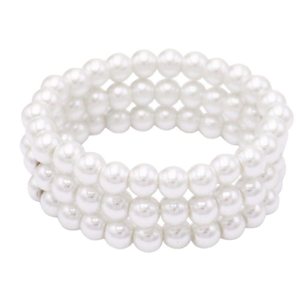 3 Row 8mm Simulated Pearl Multiple Stretch Bracelet