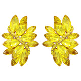 Crystal Marquis Leaf Cluster Statement Clip On Earrings (Yellow/Gold Tone)