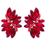 Women's Crystal Cluster Statement Clip On Earrings (Gold Tone Red)