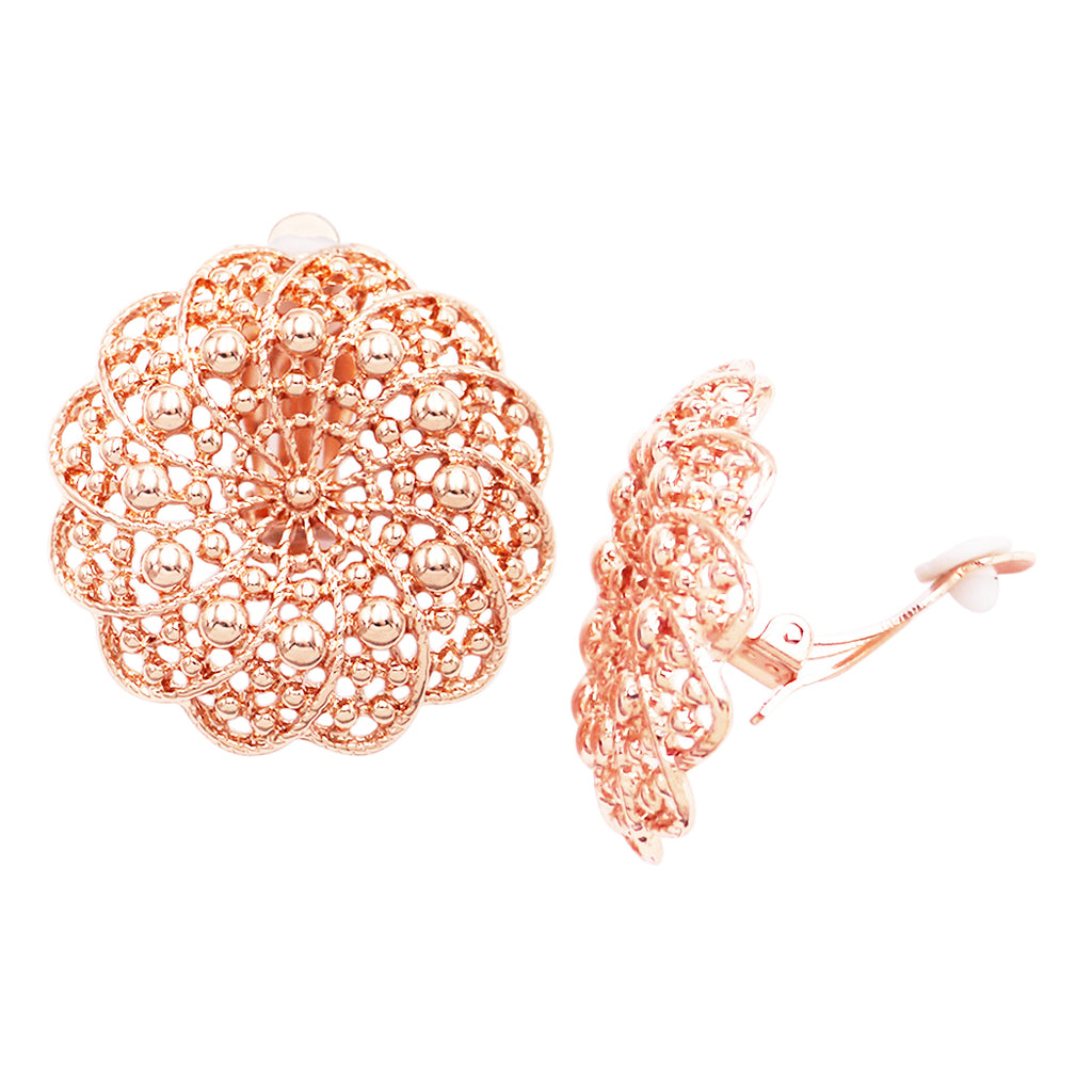Statement Circular Filigree Metal Doily Flower Clip On Earrings (rose gold tone)