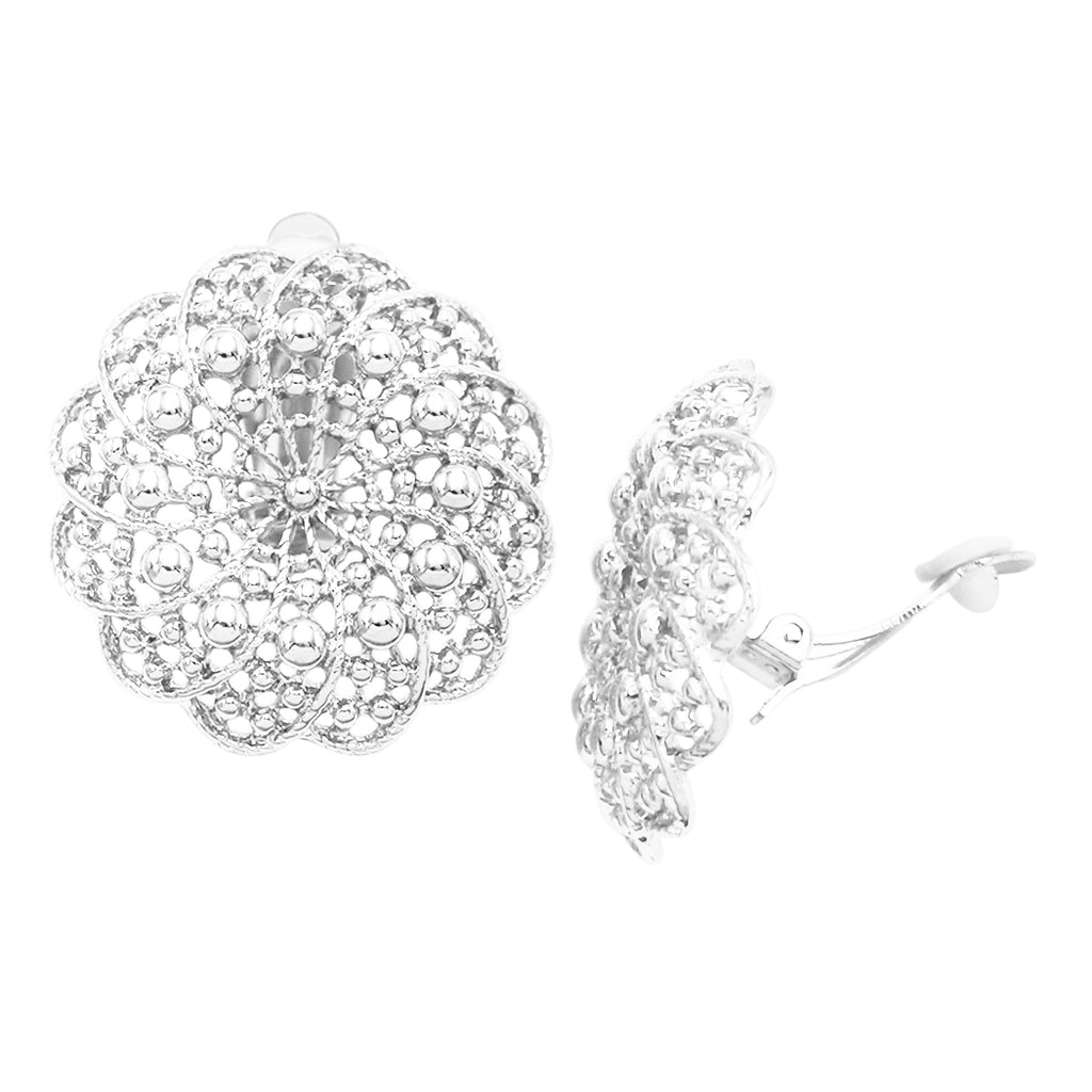 Statement Circular Filigree Metal Doily Flower Clip On Earrings (silver tone)