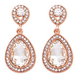 Glass Crystal Teardrop Rhinestone Pave Halo Statement Drop Post Back Earrings (Clear Crystal/Rose Gold Tone)