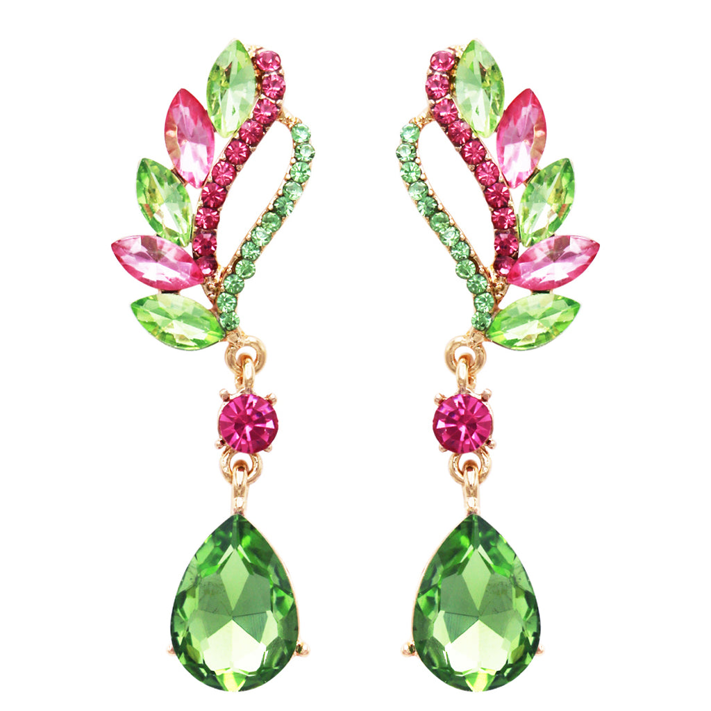 Statement Teardrop and Marquis Crystal Rhinestone Post Earrings (Green/Pink/Gold Tone)