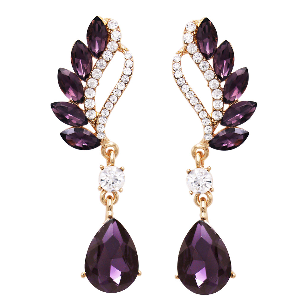 Statement Teardrop and Marquis Crystal Rhinestone Post Earrings (Purple/Gold Tone)