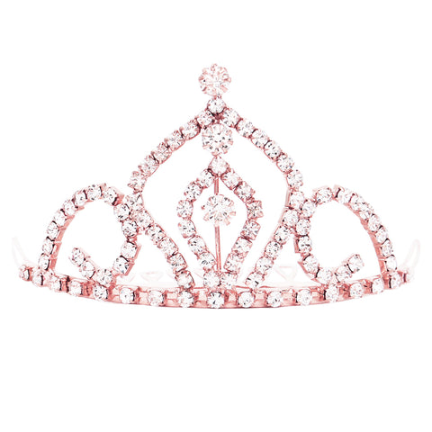 Mini Tiara Hair Comb Crystal Princess Crown (Silver)