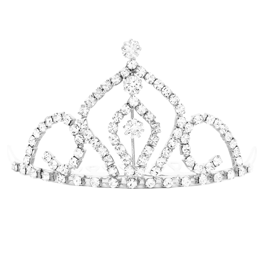Princess Regal Mini Tiara Crystal Hair Comb Crown (Silver Tone/Clear Crystal)