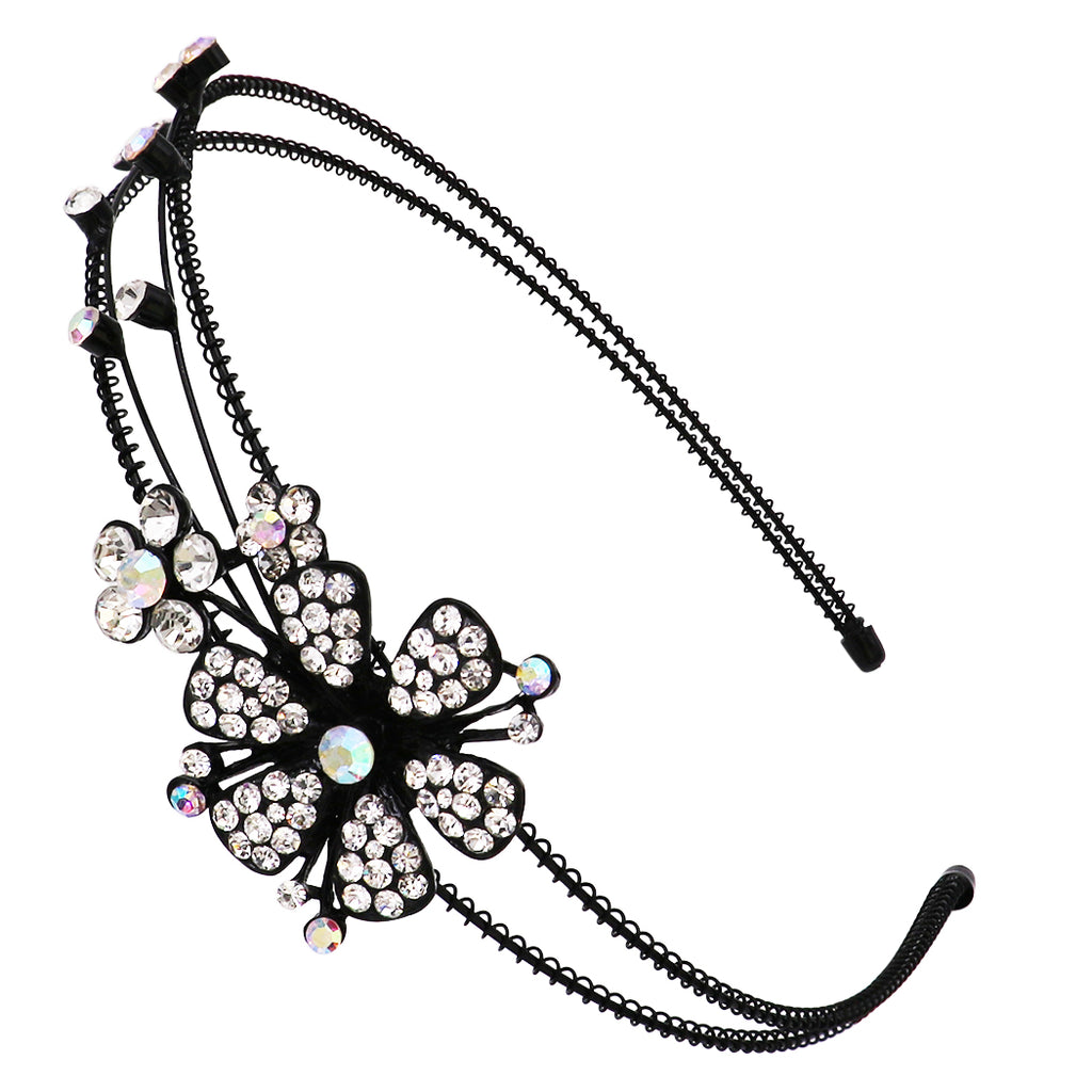 Stunning Detailed Split Double Row Flowers Crystal Rhinestone Statement Fashion Headband (Clear)