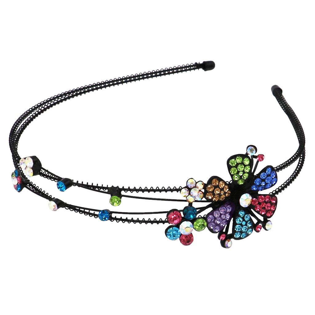 Stunning Detailed Split Double Row Flowers Crystal Rhinestone Statement Fashion Multicolored Headband