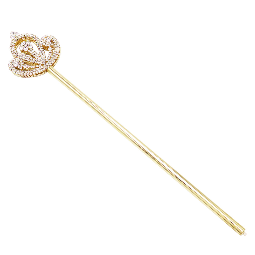 Rosemarie Collections Crystal Rhinestone Royal Scepter Princess Queen Wand (Gold Tone Large Fan)