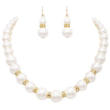 Graduated Size Strand Classic Cream Simulated Pearl with Crystals Necklace and Earrings Jewelry Set