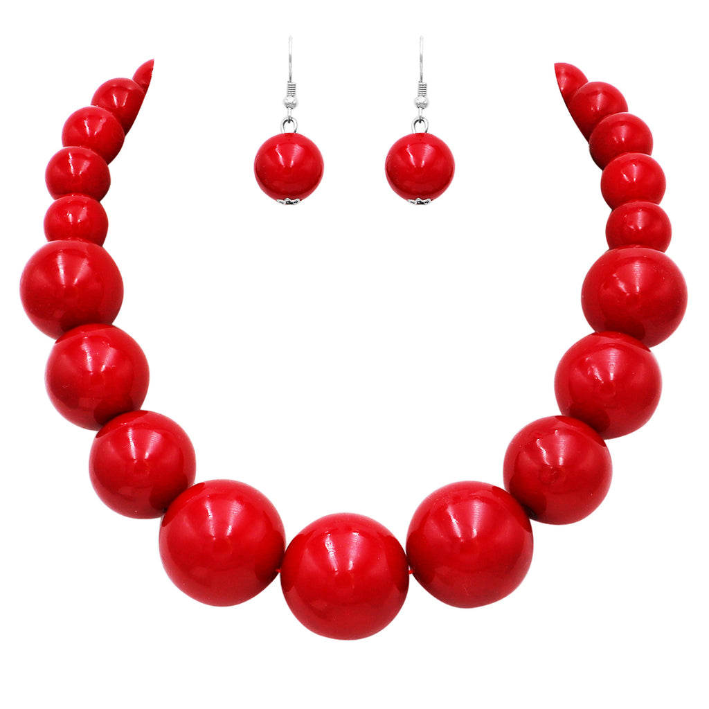 "Women's Statement Piece Marge Simpson Inspired Halloween X-Large Red Simulated Pearl 18"" Strand Bib Necklace Earrings Set"