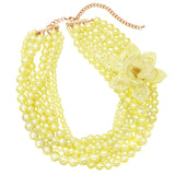 Women's Multi Strand Simulated Pearl With Flower Detail Necklace and Earrings Jewelry Set (Yellow with Flower)