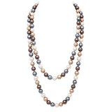 Multicolored 12mm Glass Faux Pearl Knotted Simulated 60 Inches Long Pearl Necklace