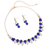 Brilliant Blue Pave Crystal Teardrop Collar Necklace and Earring Statement Jewelry Set