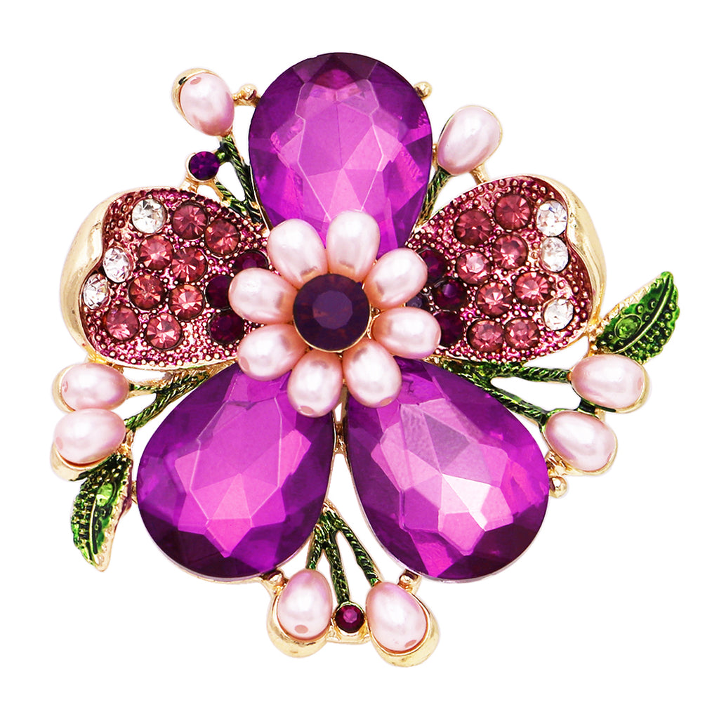 Stunning Crystal Pave Teardrop and Simulated Pearl Flower Stretch Statement Cocktail Ring (Purple Crystal/Gold Tone)
