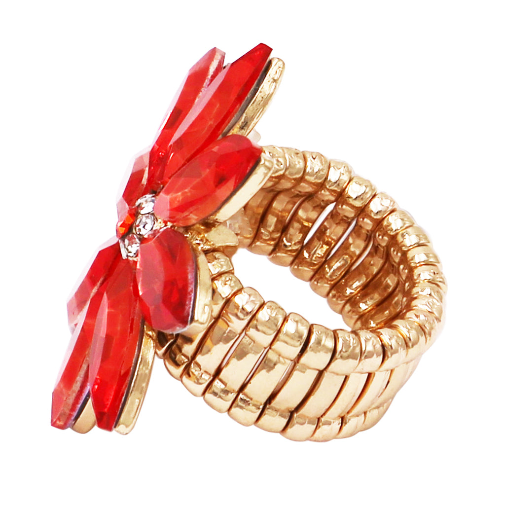 Stunning Crystal Flower Stretch Cocktail Ring (Orange/Gold Tone)