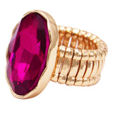 Statement Oval Crystal Stretch Cocktail Ring Gold Tone Fuchsia