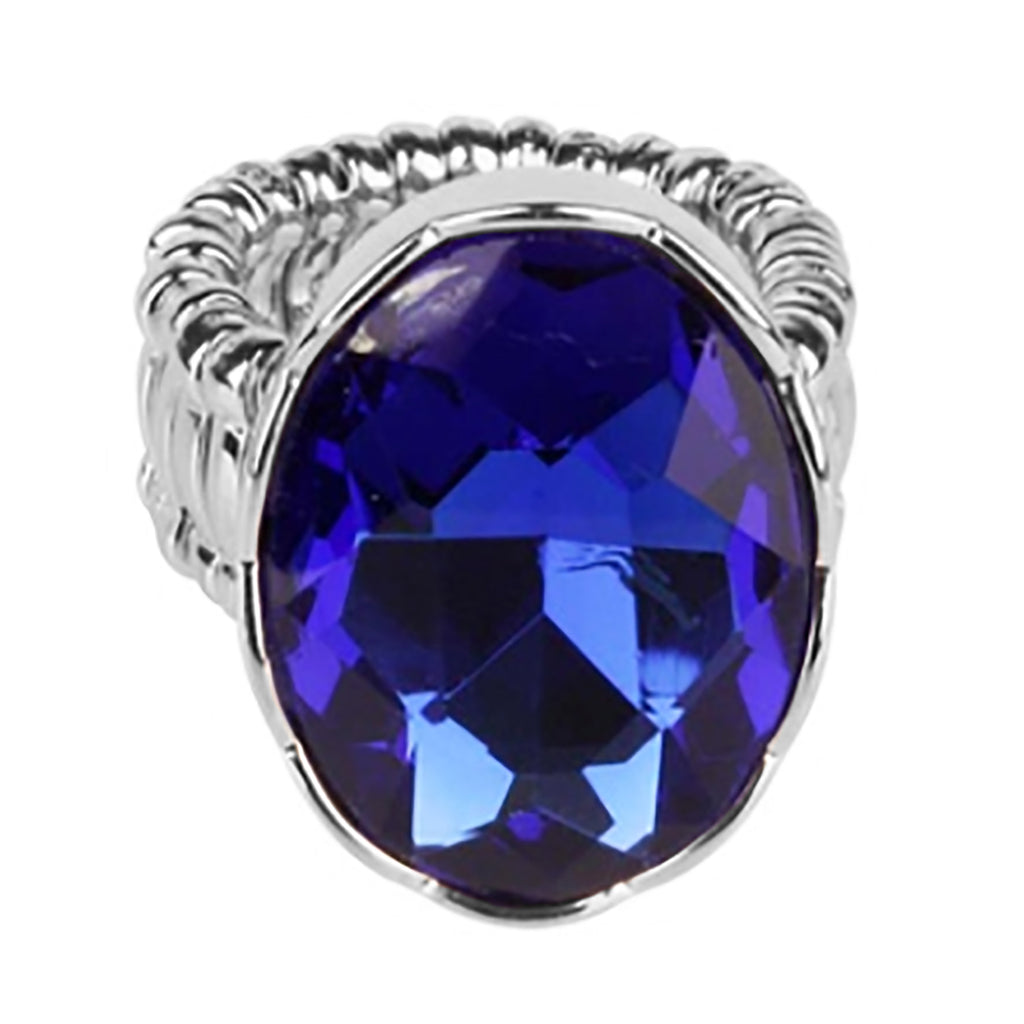 New Dark Blue Statement Oval Crystal Stretch Cocktail Ring