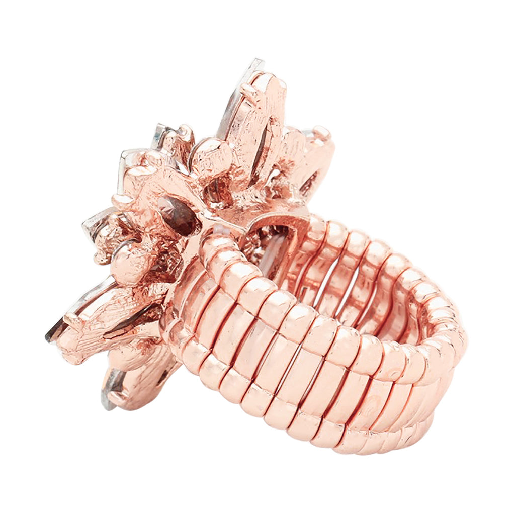 Dazzling Crystal Flower Stretch Cocktail Ring (Peach/Rose Gold)