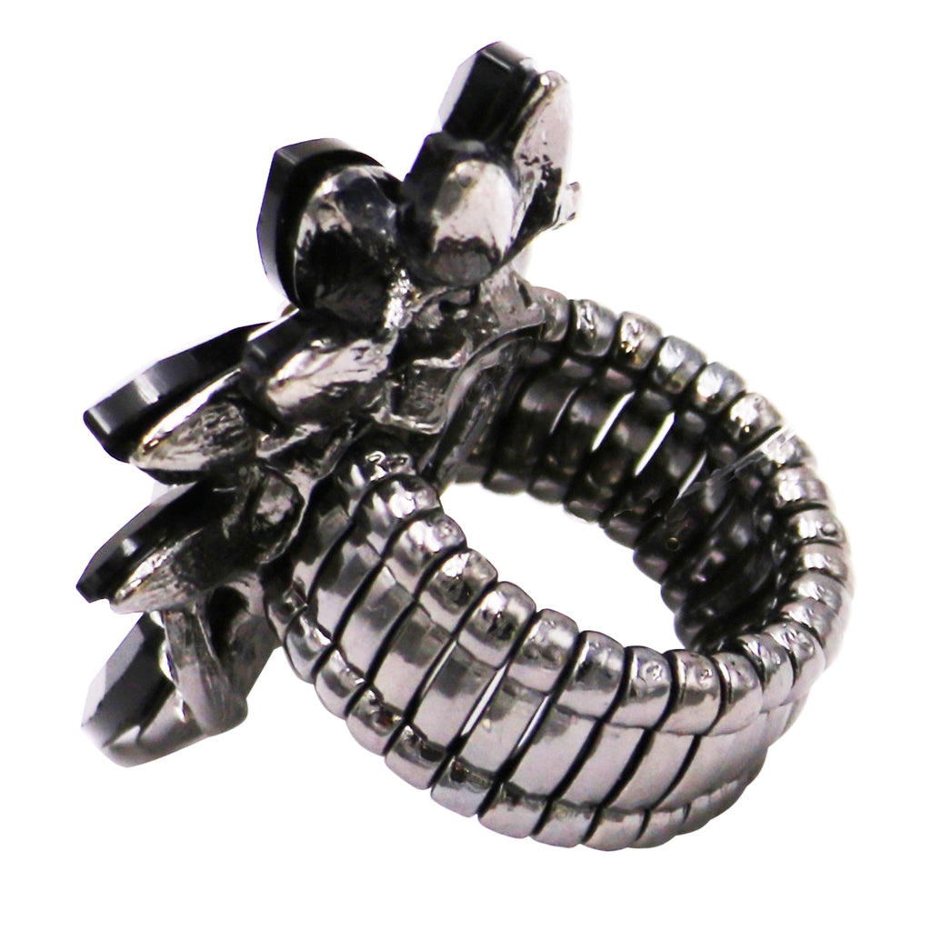 Women's Sparkly Multi Crystal and Rhinestone Stretch Statement Cocktail Ring (Black/Hematite)