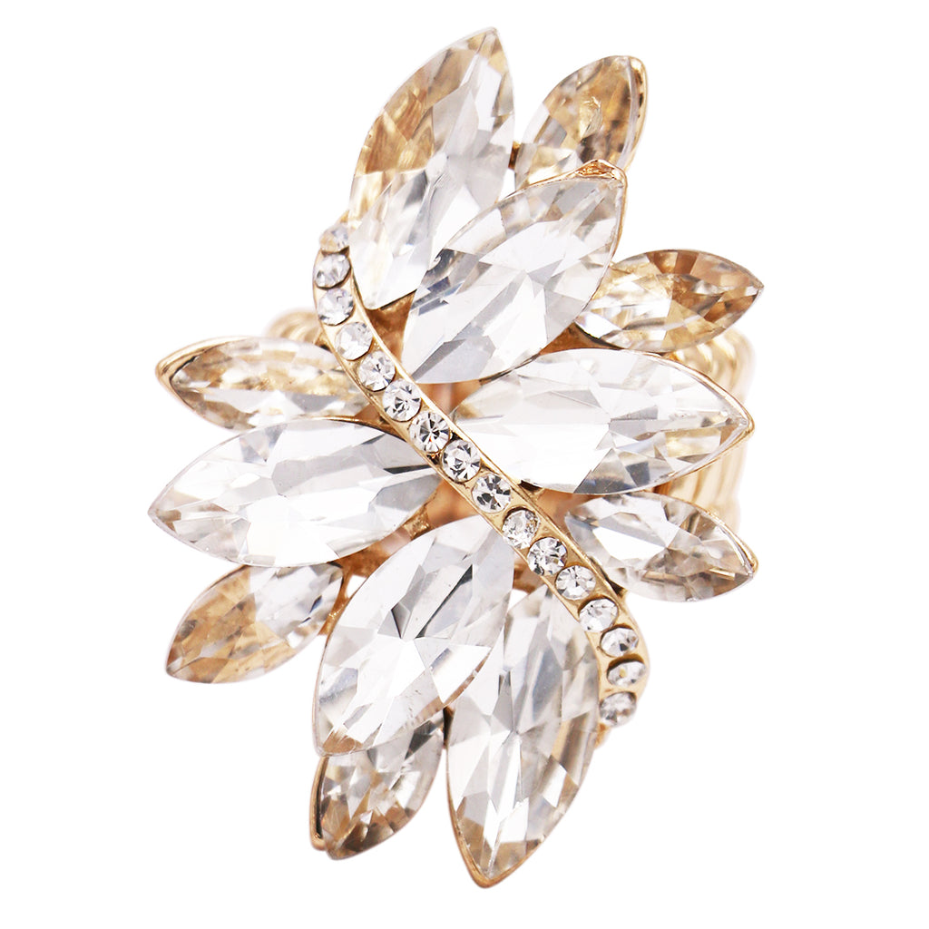 Dazzling Crystal Leaf Stretch Cocktail Ring (Clear Crystal/Gold Tone)